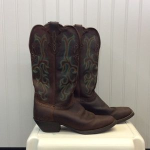 EUC Justin Stampede Sorrel Apache Western Boots